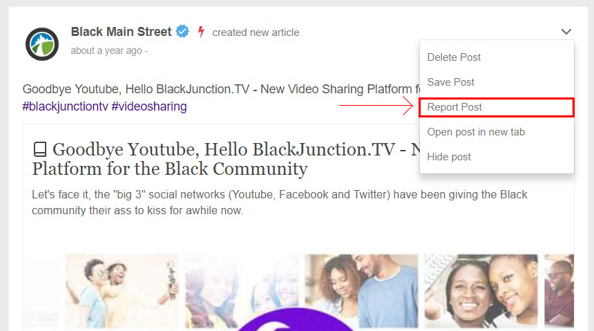 Reporting a post – Black Junction Support